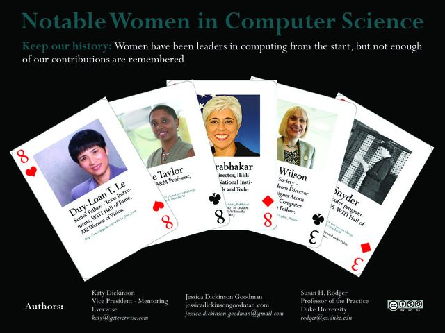 Playing Cards highlighting famous women programmers