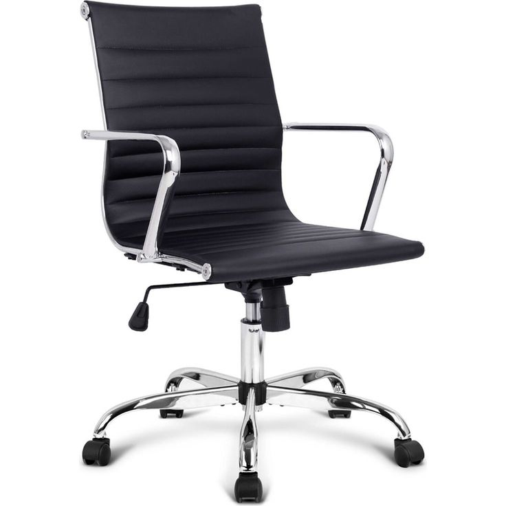 Chic Eames Replica PU Leather Office Chair in Black | Buy Black Office Chairs