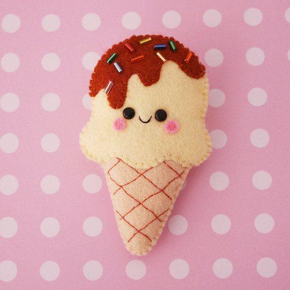 Lemon Ice Cream Felt Brooch by hannahdoodle on Etsy,