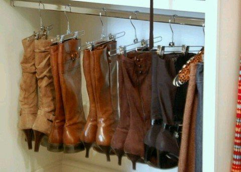 Hanging Boots w/ clip hangers and purses w/ shower hooks. The tension rod could be above clothes and still within reach-