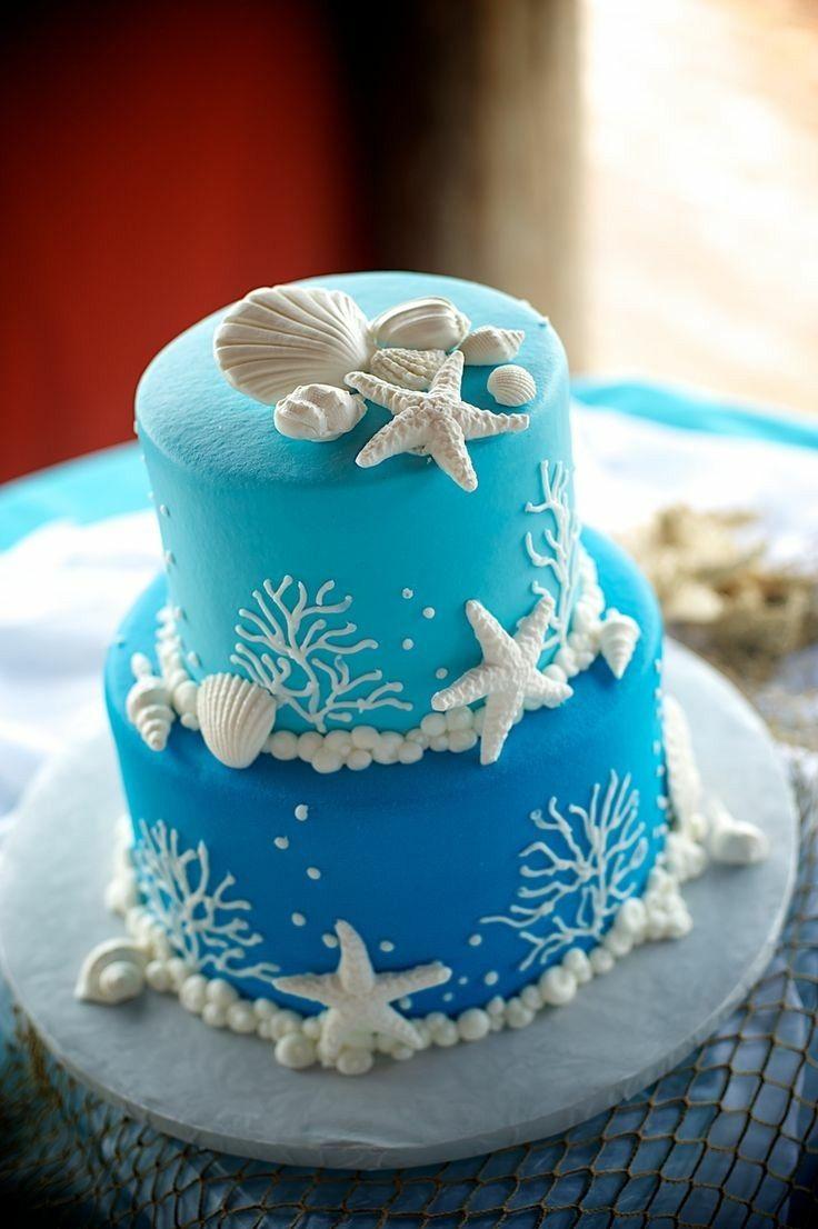 Blue Beach Wedding Cakes