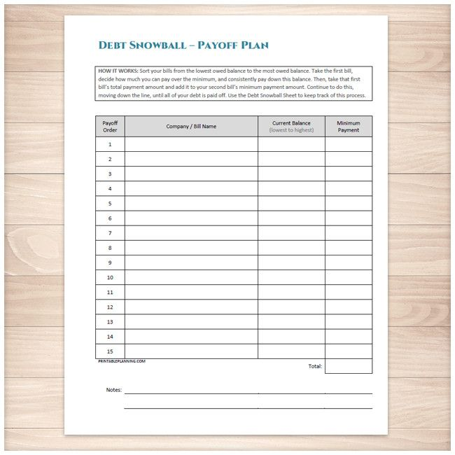 A printable debt snowball sheet to help you pay down your debt with a fast and organized repayment plan. Do you want to be debt free? Using the Debt Snowball method can help you to stay committed to paying off your debts, doing it in an organized way, and paying everything down faster than paying just your minimum payments. This bundle includes a bonus Debt Payoff Plan sheet.