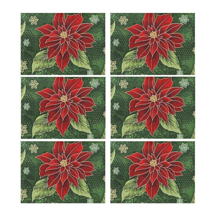 Elegant Christmas Poinsettia Placemat 14'' x 19'' (Six Pieces) l Four Pieces also available.