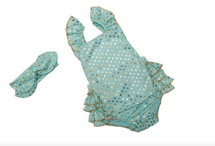 Mint Polka Dots Seaside Bella Baby, Toddler Summer Romper with Headmade