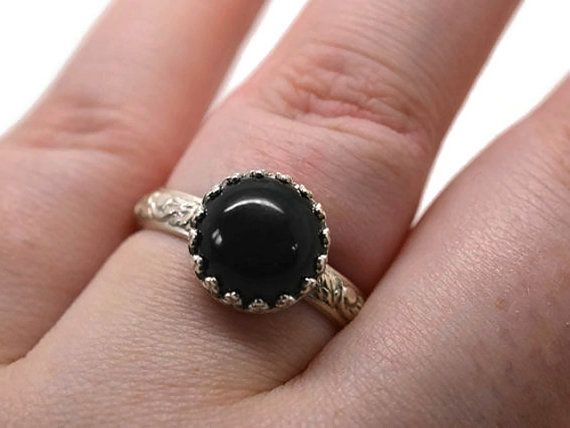 10mm zwarte Onyx Ring Sterling Zilver Renaissance door fifthheaven