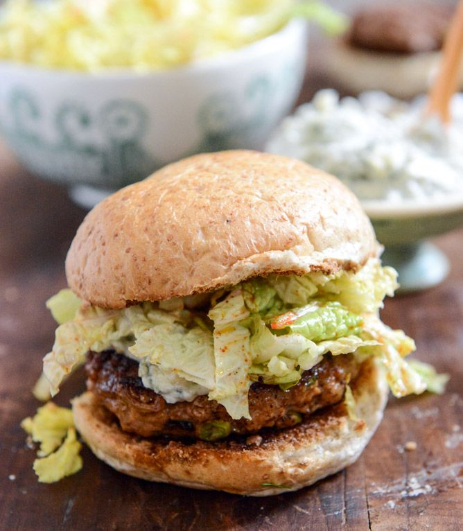 Turkey Burgers with Creamy Gorgonzola and Chili Garlic Slaw » I would change the cheese, but yum, these do look good!