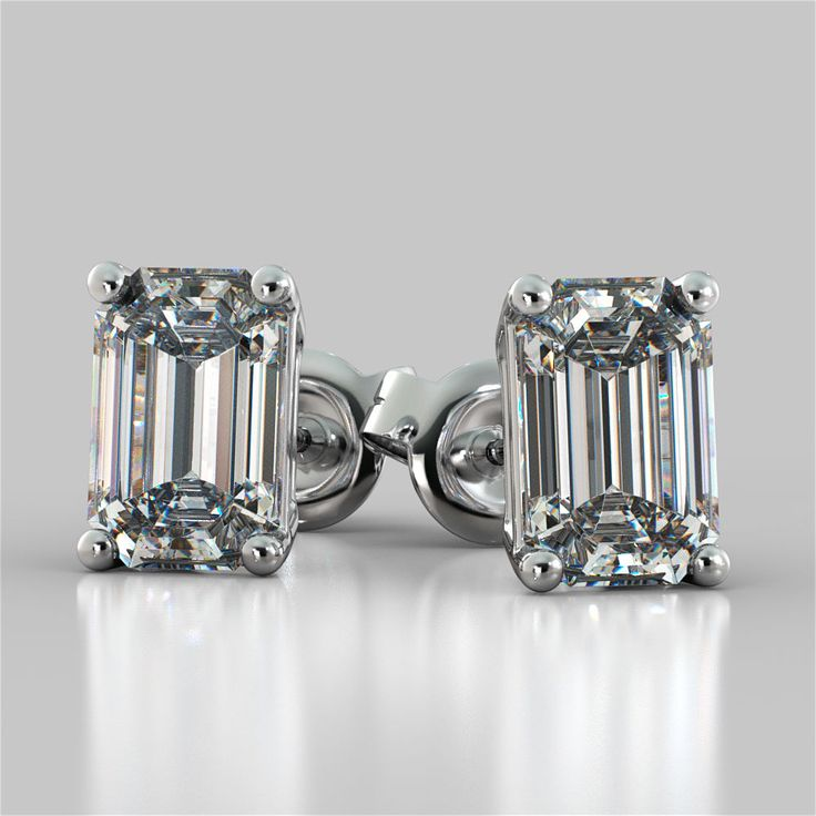 Emerald Cut Stud Earrings Available in 14K 18K and Platinum