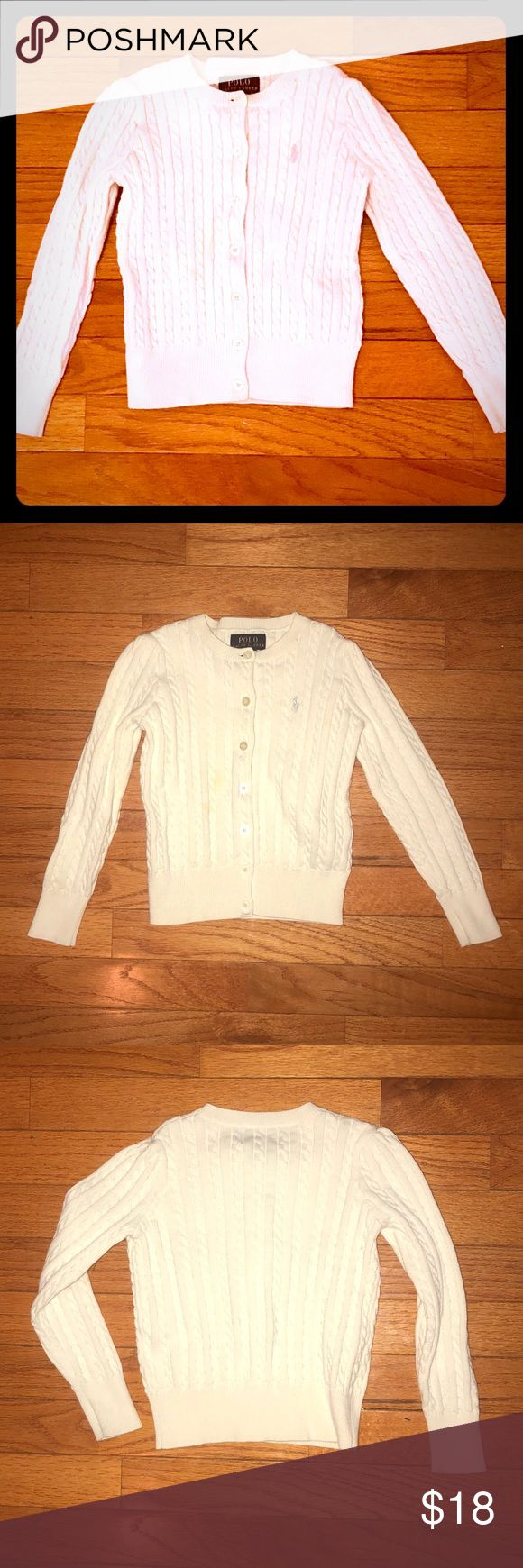 Ralph Lauren Girl's Button-Down Cardigan Ralph Lauren Polo Little Girl's Off-White Cardigan with silver Polo symbol. Size 5. Very gently used and excellent condition. No stains or pulls.  Smoke-free home. Polo by Ralph Lauren Shirts & Tops Sweaters