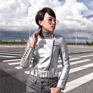 Oblique zipper Winter Faux Leather Jacket Women Motorcycle Stylish Studded Leather Jacket Winter Women Jacket Coat Size S-4XL