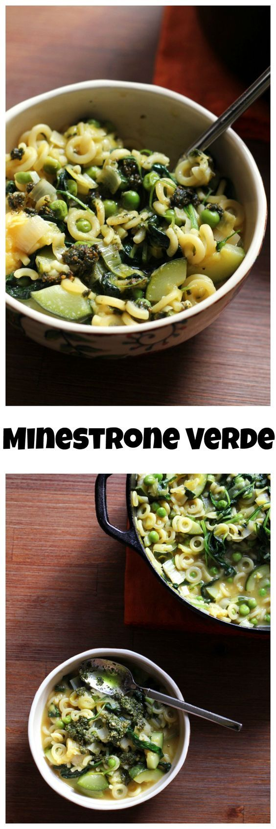 Minestrone is a hearty Italian vegetable soup that can be stuffed with just about any veggies your heart desires! It goes green in this minestrone verde, which is filled with the bright flavors of leeks, zucchini, peas, kale, and basil pesto.