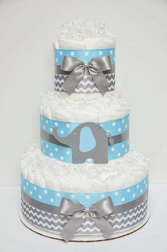 Chevron Blue And Gray Elephant Diaper Cake by LanasDiaperCakeShop