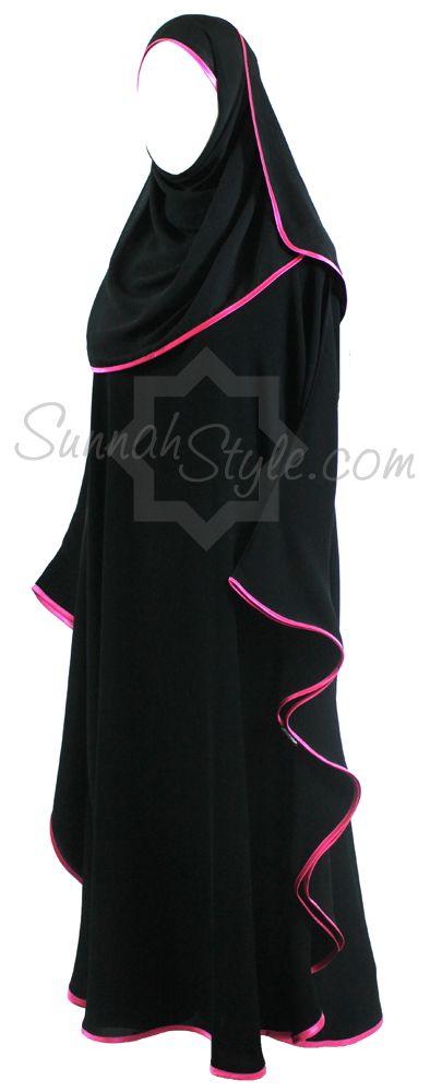 Girls Satin Trimmed Butterfly Abaya (Black/Hot Pink) by Sunnah Style #SunnahStyle #childabaya #farasha