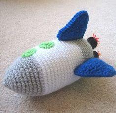 Free Crochet Pattern: Rocket Ship  Looks like Buzz Lightyear's ship.