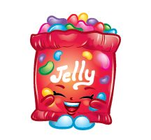 """The other variant features Jelly B. as a pink and white bag of yellow jelly beans with the word """"Jelly"""" in purple letters. Description from shopkins.wikia.com. I searched for this on bing.com/images"""