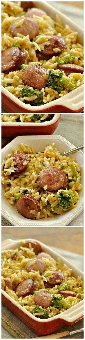 Smoked Sausage and Cheesy Orzo! Make this with Johnsonville Smoked Sausage.
