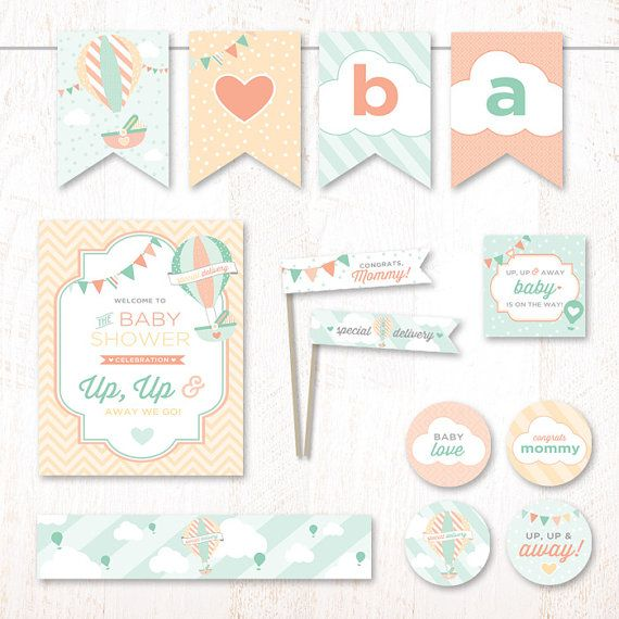 Instant Download - Hot Air Balloon Baby Shower (Mint & Peach) - PRINTABLE Party Essentials Kit