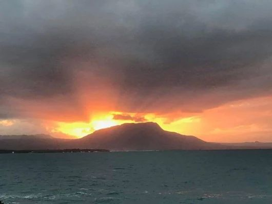 Mother Nature's spectacular sunset over Mt Isabela de Torres, an hour west of us - gorgeous! ~~ Why just visit when this could be home? Now easier than ever: http://www.our-dominican-republic.com/vecinos_for_sale.html ~~ photo credit to Aridio Castillo, shared by Frank Genoa - thx!