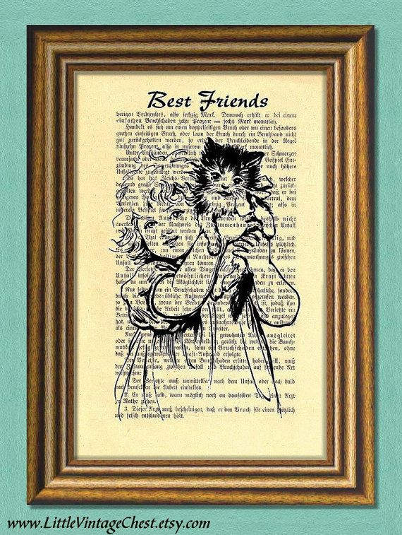 BEST FRIENDS  Girl & Cat  Dictionary art by littlevintagechest, $7.99