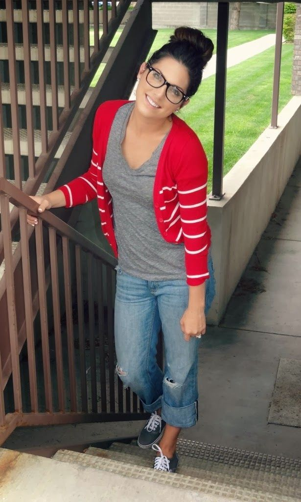 Fall Casual Outfit Red and White Striped Cardigan
