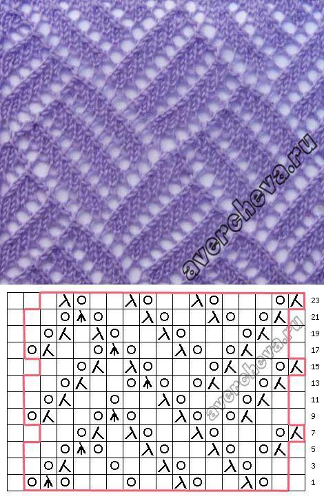 Узор 729 «ажурная решетка» | каталог вязаных спицами узоров | вязание | Постила
