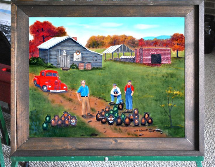 Original Folk Art Oil Painting on Canvas Burlon Craig Pottery Catawba County Vale NC Red Truck Framed Country Scene Autumn by Arie Taylor by jagartist on Etsy
