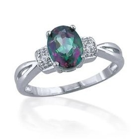 Mystic Fire Topaz and Diamond Ring so pretty :)