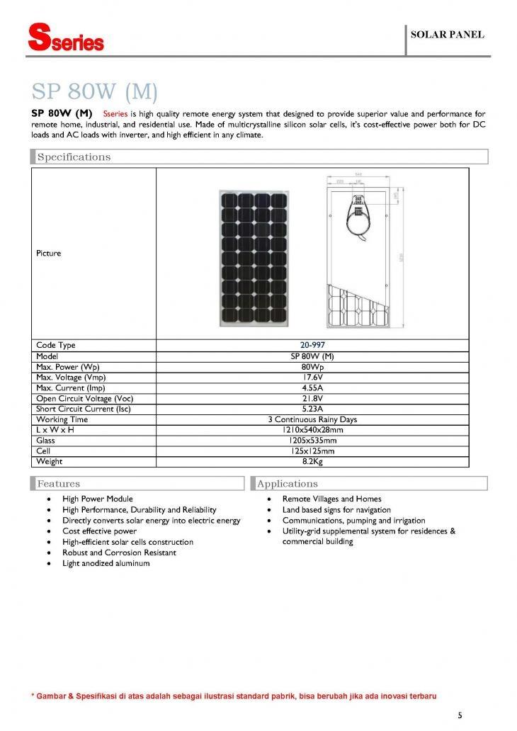 Solar Panel S Series SP 80W (M), 80WP - 12V