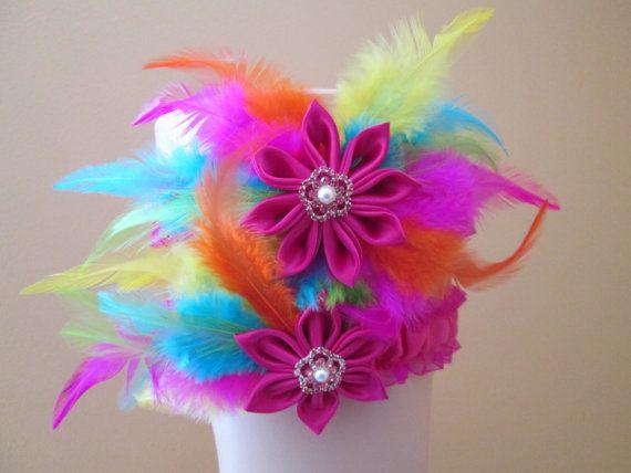 RAINBOW Wedding Garter Set Hot Pink Bridal by GibsonGirlGarters