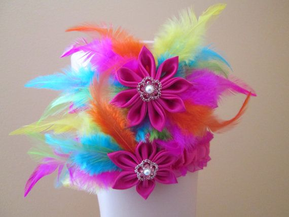 RAINBOW Wedding Garter Set, Hot Pink Bridal Garters w/ Rainbow Feathers-- Pink, Orange, Yellow, Blue, Lime, Beach- Destination Bride