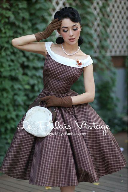 Le Palais do Vintage outono e inverno clássico xadrez hit colar de crescer vestido / vestido de sopro