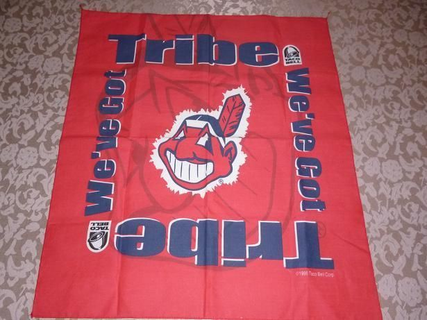 Baseball Cleveland Indians Chief Wahoo Red Handkerchief Flag Taco Bell 1998