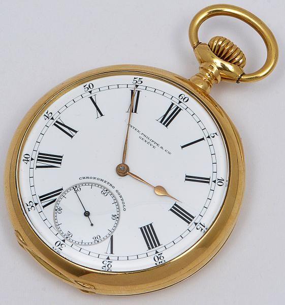 Patek Philippe Chronometro Gondolo- Relógio de bolso, cronometro de ouro amarelo 18k, mostrador bran