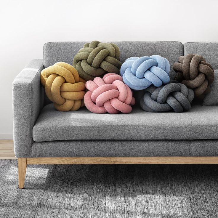Knot cushions! These cushions designed by Ragnheiður Ösp Sigurðardóttir @designbyumemi are made from a knitted tube, several meters in length, which is tied up to create a compact knot which is as comfortable as a support in the sofa as it is elegant to behold. Ragnheiður was inspired by her childhood scouting experience which gave rise to a fascination with knots and their various uses. #knotcushion 📷 @jonaslindstrom Location: @bloocstockholm   #dribbble #dribbblers #behance #pinterest…