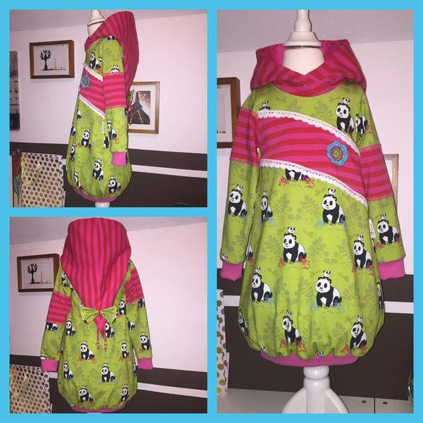 Kleider - Ballonkleid Kleid Tao Tao 98/104 grün pink - ein Designerstück von Petits-moments bei DaWanda