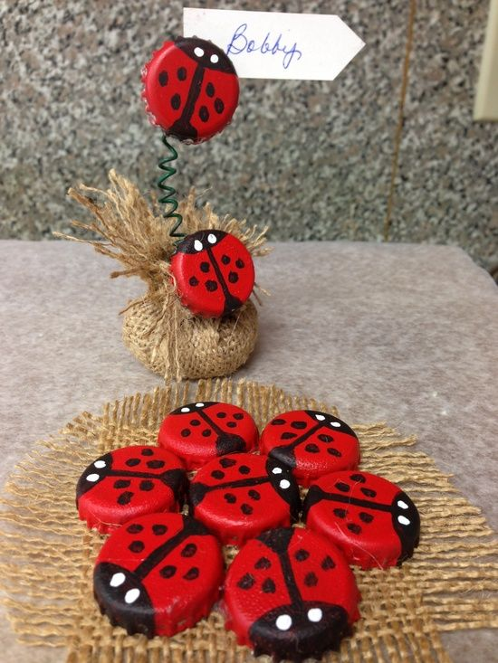 How to Make Lady Bugs Out of Bottle Caps. They will look great marching through my rock garden!