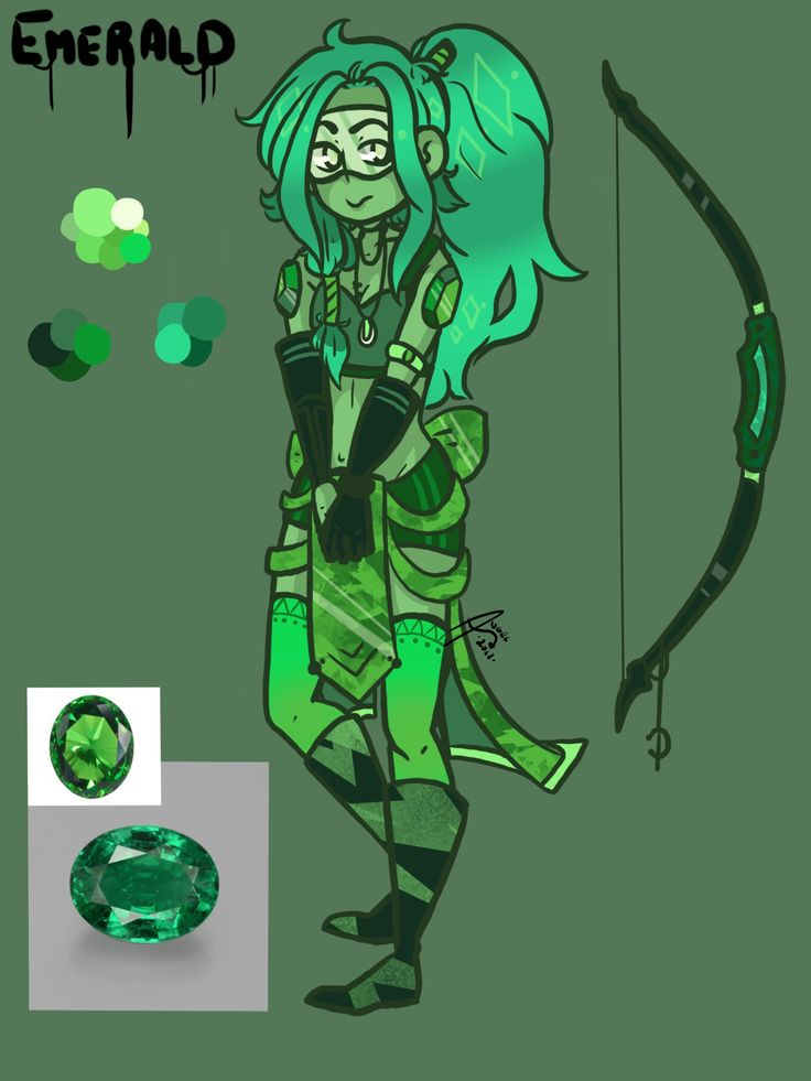 My new gemsona named Emerald (based of the emerald gem) I'm going to call her Em for short art by:XTheFallenAngelX