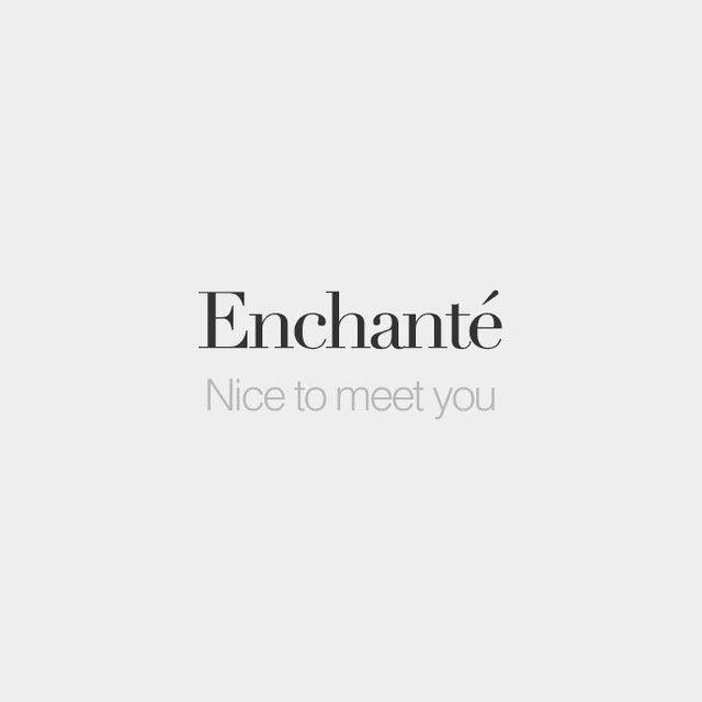 Enchanté (feminine: enchantée)   Nice to meet you   /ɑ̃.ʃɑ̃.te/
