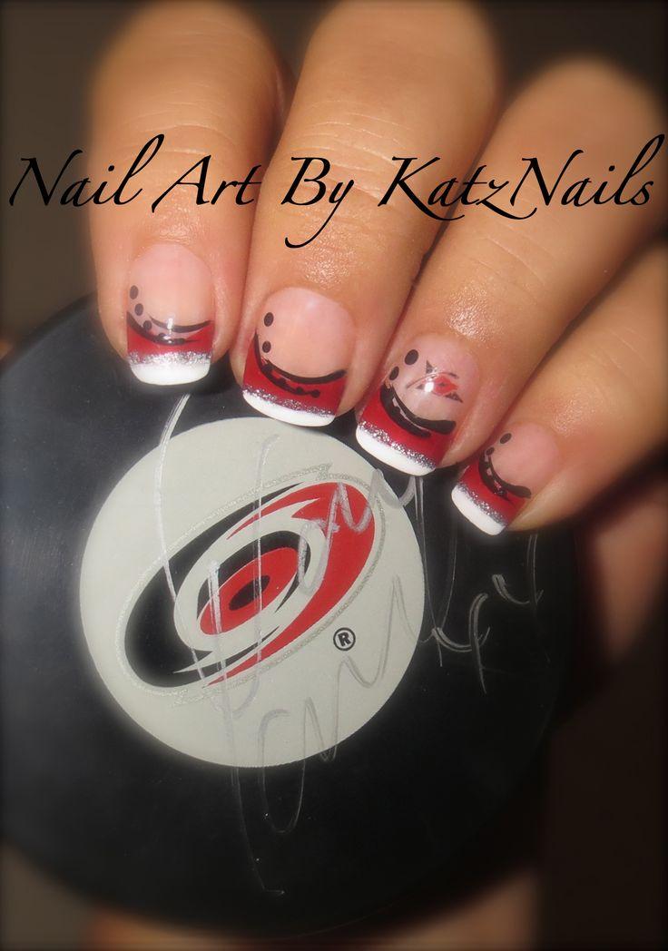 Carolina Hurricane Hockey Nails - Go Canes #hockeynails #carolinahurricanes #Canes