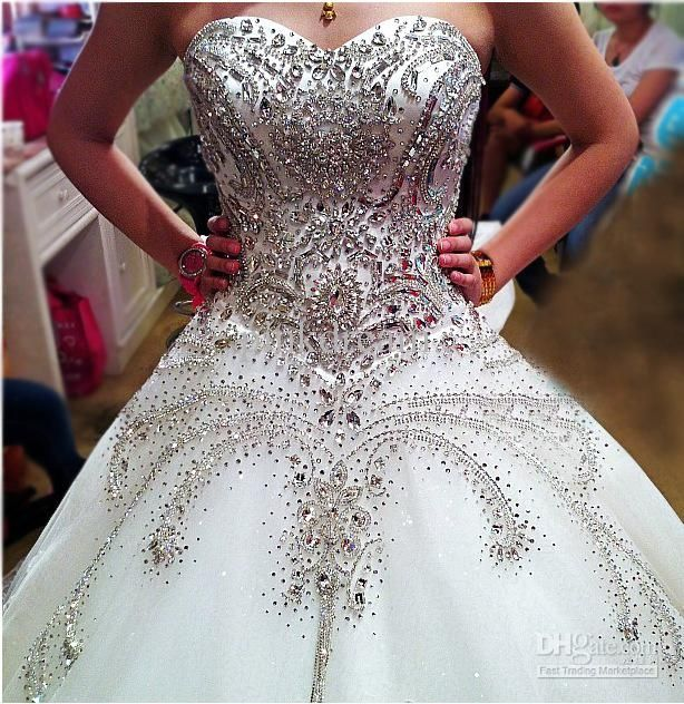 Jeweled Ball Gown Wedding Dresses: Cathedral Ivory Sweetheart Ball Gown Rhinestone Applique