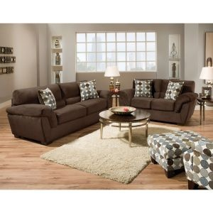 Brown Upholstered 2-Piece Room Group - Living Room Furniture