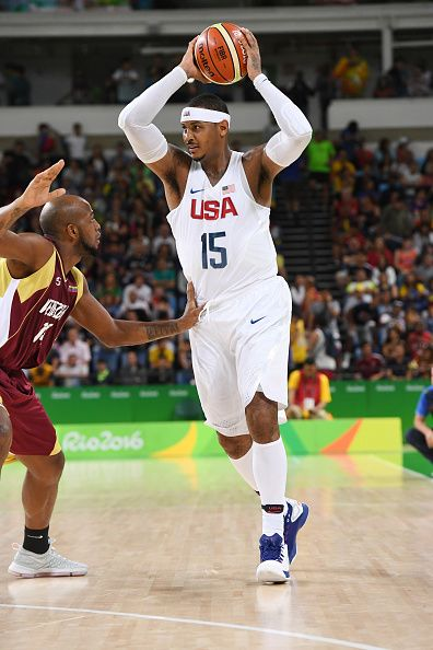 Carmelo Anthony of the USA Basketball Men's National Team handles the ball against Venezuela on Day 3 of the Rio 2016 Olympic Games at…