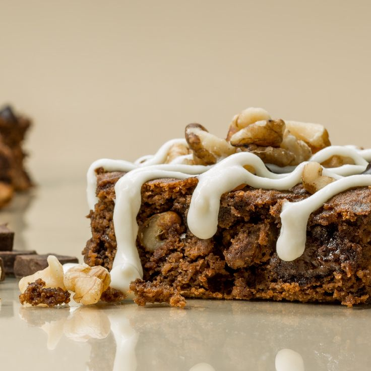 Walnut Brownie ~ Decadent in flavor and packed with protein, these chocolate squares are made to put a smile on your face.