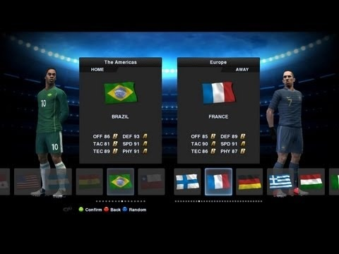 Back with an exciting match up between Brazil and France in PES 2013. Brazil with their fantastic precision gameplay and the flamboyance of France, what will this match up lead to?