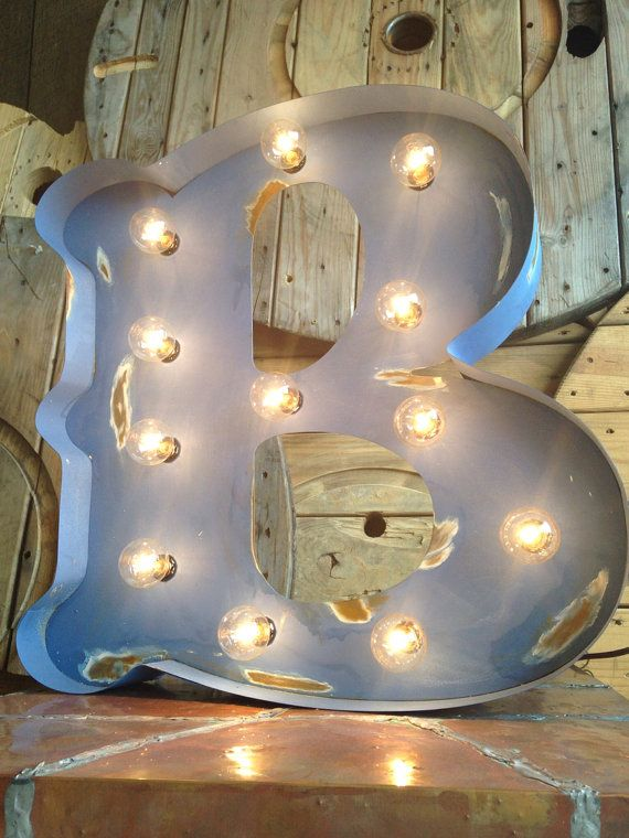 Carnival Painted Antiqued Lighted Marquee By MetalAndLights