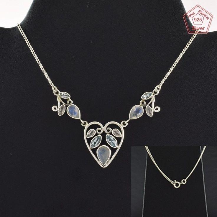 Multi Stone Fancy Design 925 Sterling Silver Necklace NK2957…