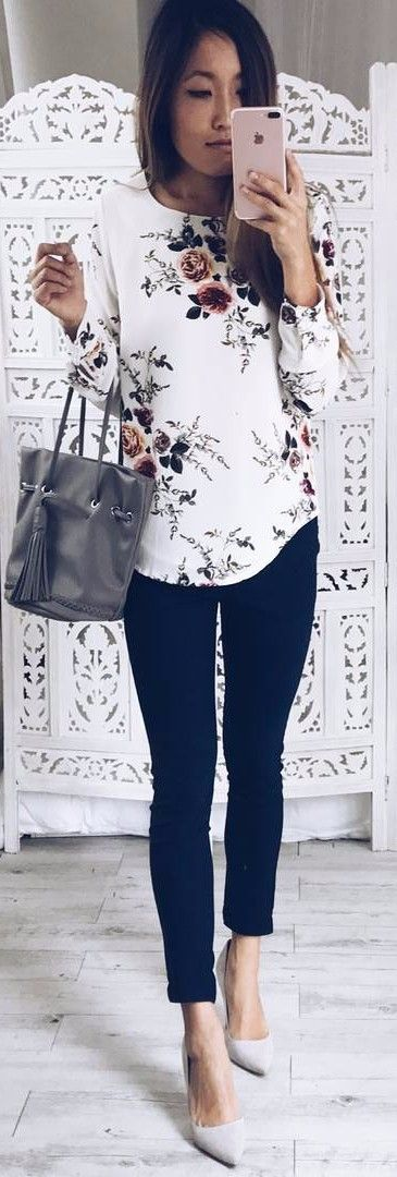 floral print top + black pants & heels