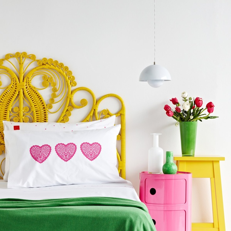 Mr Price Home bedroom inspiration. Love the bright colours contrasting with the white wall. yellow and green. Salvation Jane.