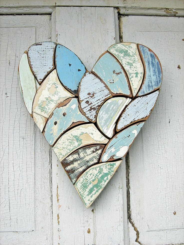 I never thought to use wood for mosaics!  YAY  Mosaic Heart Made From reclaimed wood