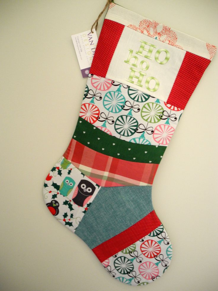 One-of-a-Kind Whimsical Embroidered Heirloom Patchwork Christmas Stocking sewn with Up-Cycled Designer Fabrics by VanDijkDesigns on Etsy