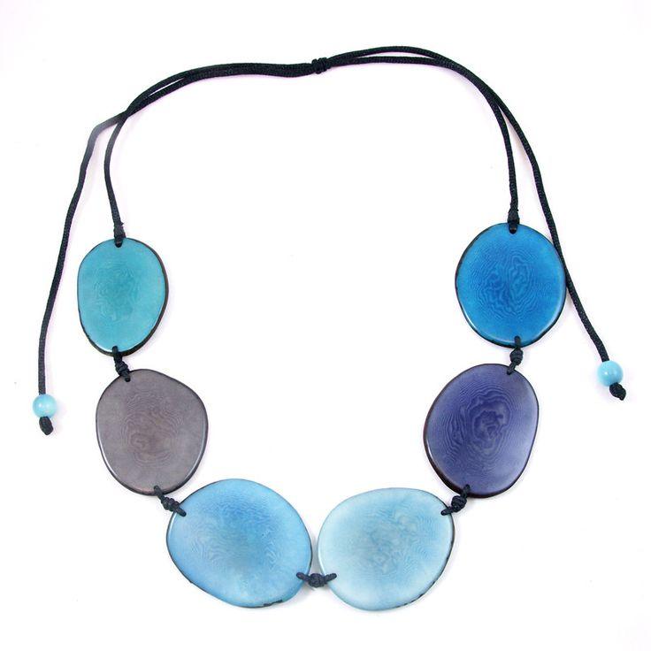 Tagua Terra Adjustable Necklace - Aqua